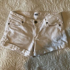Paige white denim shorts